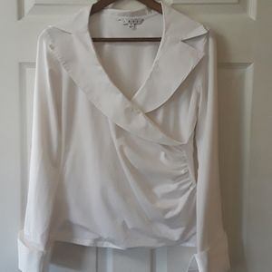 Cabi Sz M White shawl collar french cuff ruching